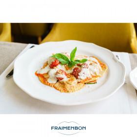 Ravioli ronds mozzarella, basilic et tomate grillée