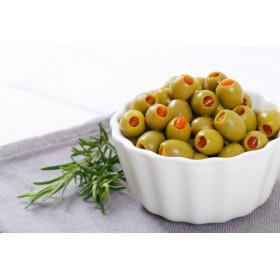Olives vertes dénoyautées pimentées
