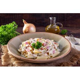 Salade de pâtes françaises au jambon et emmental